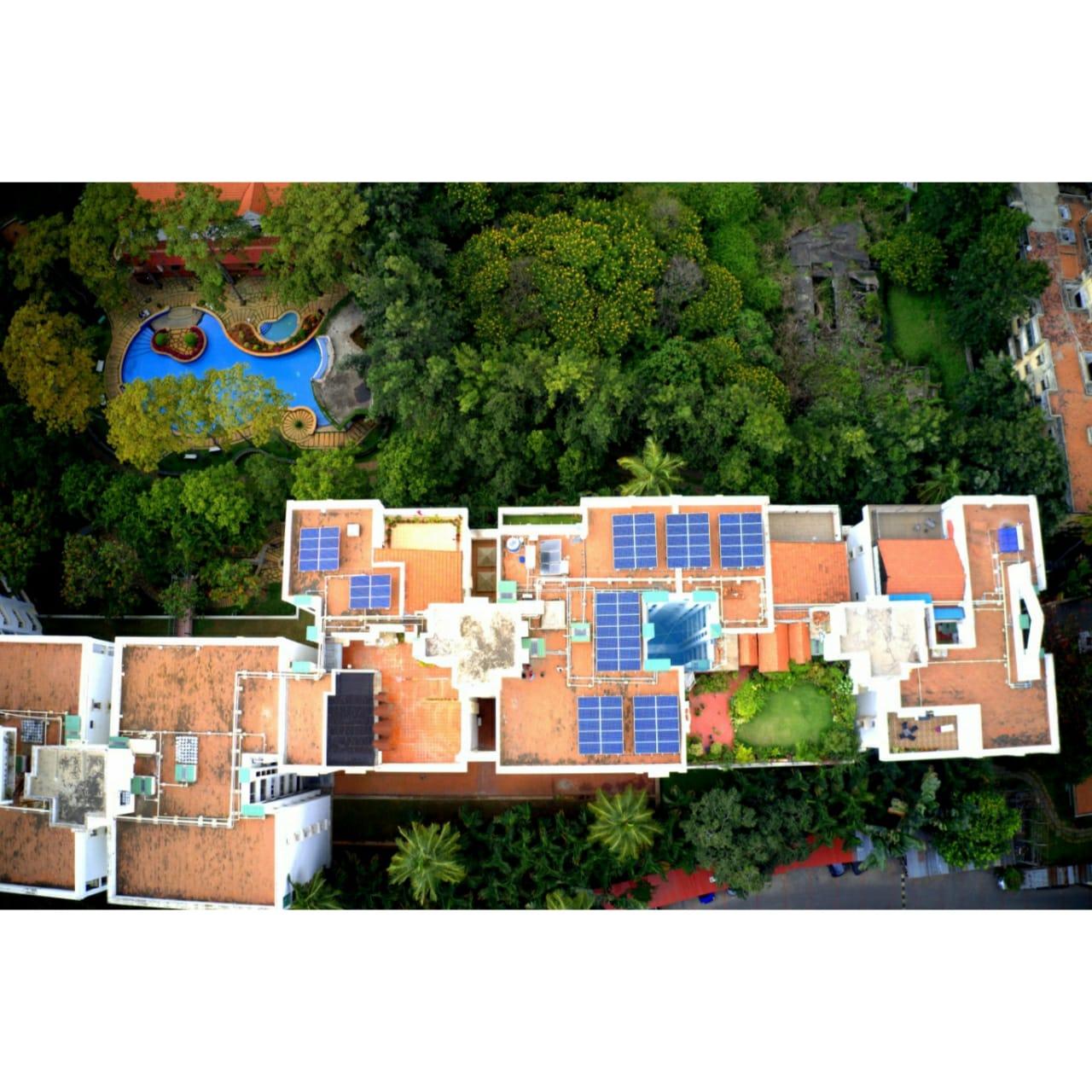 Solar Panels on Apartment rooftop, Bangalore
